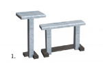 Стол и скамья на столбиках №1, мрамор.
