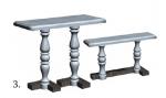 Стол и скамья на двух балясинах №3, мрамор.